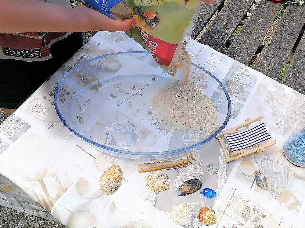 Sand für den Miniatur-Strand